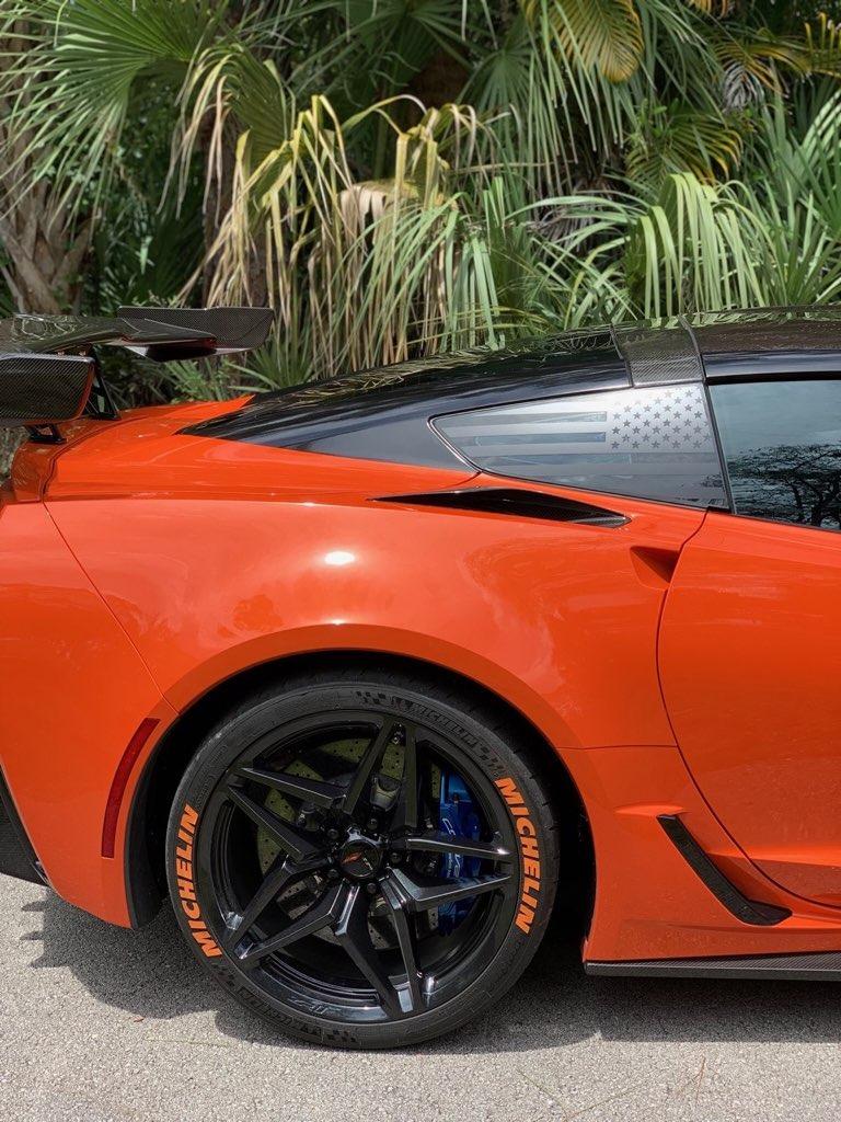 C7 Corvette Rear Quarter Window Flag Decal Stars And
